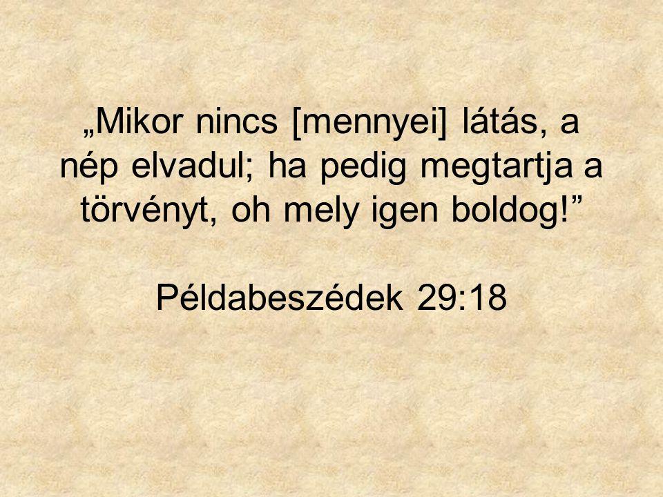 """""""Mikor nincs [mennyei] látás, a nép elvadul; ha pedig megtartja a törvényt, oh mely igen boldog! Példabeszédek 29:18"""